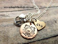 Coast Guard necklace-personalized necklace-coastie-USCG-heart-anchor-handstamped. $33.00, via Etsy.