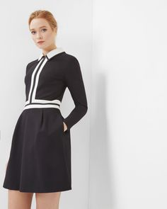 Collared colour-block dress with pockets  #wewantpockets #pocketsrock www.pocketsrock.com; dresses with pockets; black; work wear  The Pockets Rock site contains affiliate links. If you make a purchase after following a link from the site, Pockets Rock may receive a small commission.