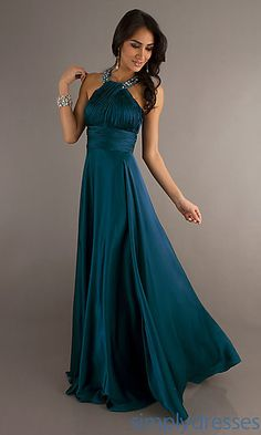 Bridesmaids in Blue. High Neck Halter Prom Gown at SimplyDresses.com