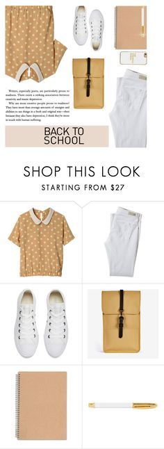 """Back to School 3"" by carolinafrancesca ❤ liked on Polyvore featuring AG Adriano Goldschmied, Converse, Rains, Sugar Paper, BaubleBar and BackToSchool"