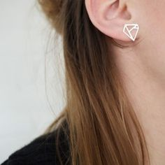 DMNT Earring / Earpin - Sterling Silver diamond inspired graphic earring / - DV Jewellery by Danielle Vroemen