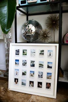 DIY Polaroid Display - Polaroid - Pictures on Wall ideas Polaroid Pictures Display, Polaroid Display, Frame Display, Display Photos, Ribba Frame, Frames On Wall, Framed Wall Art, Polaroid Foto, Polaroid Frame