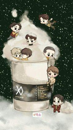 What if chibi EXO had great time in a parallel coffee UNIVERSE? Chanyeol, Baekhyun Fanart, Kpop Fanart, Kpop Exo, Chibi Exo, Anime Chibi, Kpop Anime, Exo Cartoon, Exo Stickers