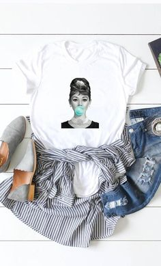 Audrey Hepburn Blue Bubblegum or Marilyn Monroe Pink Bubblegum Fashion Graphic Crew Neck Softstyle Tee combed and ring spun cotton Bella Canvas Unisex Tee Audrey Hepburn Style, Fashion Graphic, Bella Canvas, Fashion Pants, Marilyn Monroe, Spun Cotton, My Outfit, Trendy Outfits, Graphic Tees