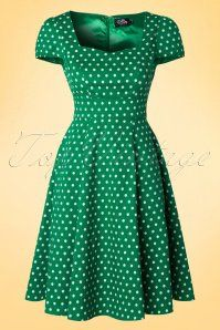 Dolly and Dotty Claudia Green Polkadot Dress 102 49 18777 20160330 Cute Dresses, Vintage Dresses, Casual Dresses, African Fashion Dresses, Fashion Outfits, Dress Fashion, Mode Cool, Shweshwe Dresses, Vintage Mode