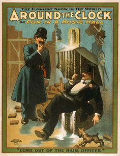 Around the Clock or Fun in a Music Hall Classic Theatrical Poster, 1907 - http://retrographik.com/around-the-clock-or-fun-in-a-music-hall-classic-theatrical-poster-1907-2/ - classic, comedy, funniest, high resolution, opera, performing arts, show, stage, Theater, vintage