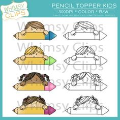 Free pencil topper kids clip art in color and black & white.
