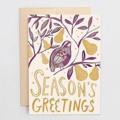 Season's Greetings Card - Partridge & Pears - Hello Lucky