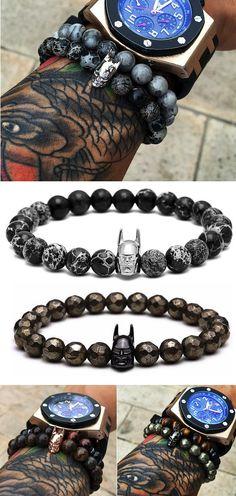 Natural Hematite Stone Batman Charm Bracelet [4 Variations]