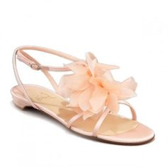 0a7d97370422 Christian Louboutin Crepe Satin Petal Flat Sandals Pink Red Louboutin