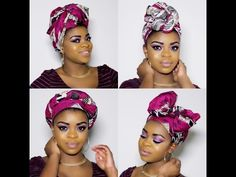 4 Quick and Easy ways to rock a hair wrap- Natural hair - YouTube