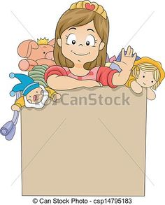 Vector - Little Kid Girl in a Toy Box - stock illustration, royalty free illustrations, stock clip art icon, stock clipart icons, logo, line art, EPS picture, pictures, graphic, graphics, drawing, drawings, vector image, artwork, EPS vector art