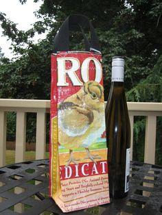 Wine Bag - Upcycled Chicken Feed Sack - Gift Bag: $8
