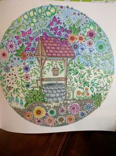 Wishing well from Secret Garden by Johanna Basford colored by Kelli
