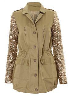 LOVE LOVE LOVE!!! Khaki & Gold Sequin Sleeve Draw String Military Jacket *MILLIE MACKINTOSH*