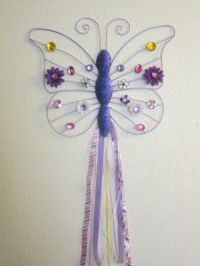Hair clip holder from a butterfly garden decoration