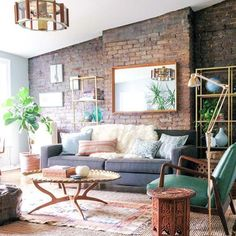 House Interior Design Ideas - Motivational Interior Decoration Concepts for Living Room Design, Room Design, Kitchen Area Style and also the entire home. Home Living Room, Apartment Living, Living Room Designs, Living Room Decor, Living Spaces, Living Room Brick Wall, Apartment Design, Cozy Apartment, Brick Wall Decor