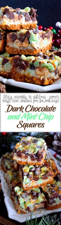 Dark Chocolate and Mint Chip Squares - A layered sweet treat thats perfect for the holidays fast and easy too! Dark Chocolate and Mint Chip Squares are gooey and messy and perfectly addicting! Fun Desserts, Delicious Desserts, Dessert Recipes, Yummy Food, Bar Recipes, Holiday Desserts, Recipies, Mint Recipes, Holiday Treats