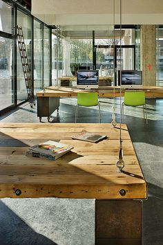 Heldergroen Offices by Zecc Architects. LOVE the construction of the table top (minus the holding cables)