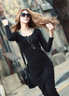 $19.29 Modern Round neck Long Sleeve Straight Cotton Maxi Dress Black