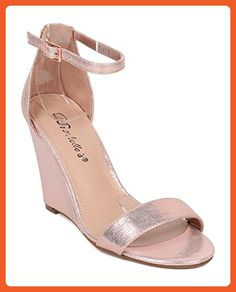 Ankle Strap Wedge Sandal - Single Sole Wedge Heel - Dressy Wedding Special Occasion Casual Heel - HB06 By Breckelles Collection - Rose Gold Metallic (Size: 8.0) - Sandals for women (*Amazon Partner-Link)