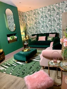 20 Apr 2020 - My green and pink living room was inspired by my stays in the Art Deco hotels of Miami. I've tried to bring a luxe glam feel using velvets, gold accents and palm print wallpaper. Interior Design Books, Palm Print Wallpaper, Wallpaper Interior Design, Green Living Room Decor, Living Room Decor, Home Decor, Green Velvet Sofa, Bedroom Decor, Art Deco Living Room