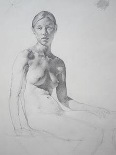 """Ryder Figure Drawing Demo, Cara Detail, approx. 14""""x10"""" Pencil on Paper 2010"""