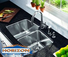 Horizon How-To: Shiny Stainless Steel Sink!  Instead of pouring bleach-infused scouring powder into your sink, simply take a lime wedge and dab it in baking soda. Scrub the stainless sink in a circular motion and repeat as necessary. When completed rinse the area with warm water removing all of the baking soda.  Polish the sink with a soft, cotton towel until it shines.