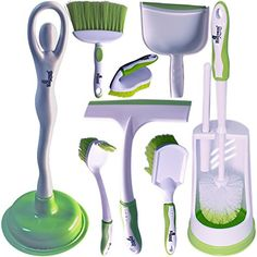 Toilet Brush Set by Houzem AllinOne Set  Scrub Brush Toilet Plunger Window Squeegee  Broom With Dustpan  Ideal For Household  Office Use  Durable Plastic *** Click image to review more details. Note:It is Affiliate Link to Amazon.