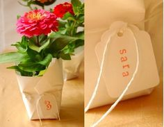 WEDDING FAVORS: individually wrapped potted plants #event_favors #garden_party_favors