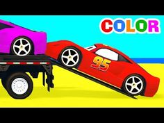 COLOR BUS on TRUCK and Spiderman Cars Cartoon for Kids & Fun Colors for Children Nursery Rhymes - YouTube