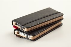 Protect your new iPhone in style. The Little Pocket Book for iPhone 5 with Onyx Black leather cover