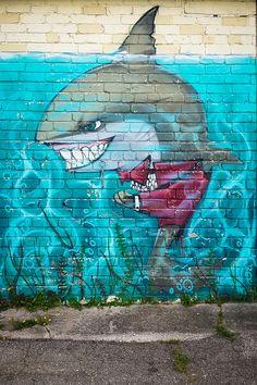 Evil Shark graffiti