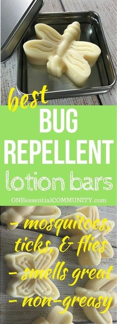 keep mosquitoes & ticks away. smells great & non-greasy -- DIY Essential Oil Bug Repellent Lotion Bars -- all-natural and deet-free recipe