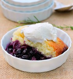 Lemon Blueberry Pudding Cake...a layer of warm saucy blueberries topped with a lemon flavored cake that is very moist and tender.  You're going to love it!