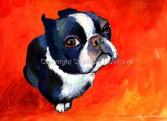 boston terrier # 1 painting Giclee Print