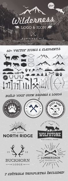 I've been busy drawing and tracing various vector graphics in order to create a comprehensive logo & icon kit for my latest free design resource. The Wilderness Survival Kit is a collection of vector graphics and ready made editable logo templates Inspiration Logo Design, Cv Inspiration, Webdesign Inspiration, Graphisches Design, Tool Design, Design Elements, Logo Montagne, Branding, Into The Wild