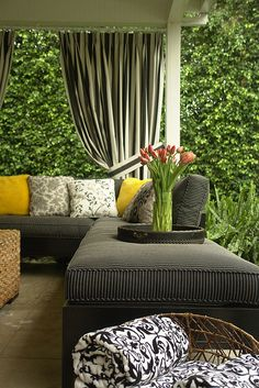 Outdoor patio stripes outdoors pillows design exterior home patio furniture curtains decor