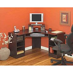 @Overstock - Perfect for small work areas, this versatile home office corner computer desk will help keep you organized. It features adjustable shelves, which will accommodate all of your office equipment, and the decorative molding adds elegance to the design. http://www.overstock.com/Home-Garden/akadaHome-Home-Office-Corner-Computer-Desk/6023893/product.html?CID=214117 $199.99