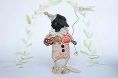 Nostalgische Primitive Folk Art Figur Rabe Miniatur von FilASophie