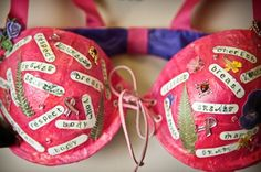 Decorated Pink Bras | Glam Up Your Bra to Win! Enter our Bra Decorating Contest! | Bra ...