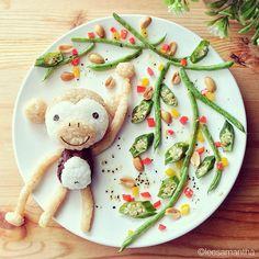 Scimmia (idee-per-far-mangiare-verdure-ai-bambini) by Samantha Lee
