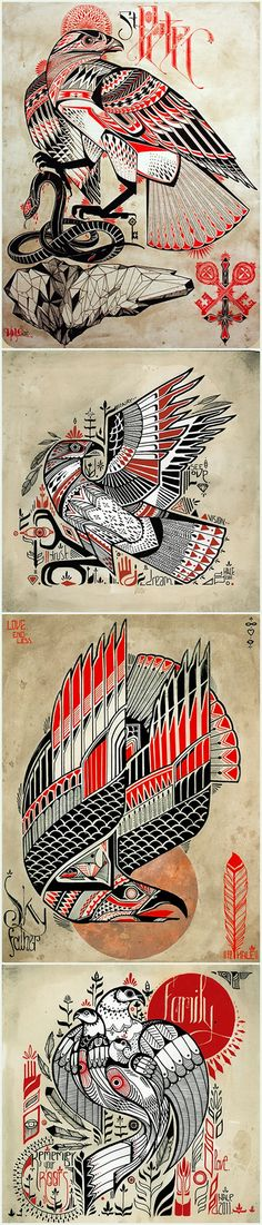 Six birds and a snake, by the enviably talented David Hale {davidhale.org}