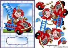 Little Fireman Card Front and Decoupage on Craftsuprint designed by Sue Way - A bright fun card front with a little fireman in his red truck. Perfect for any child that loves fire engines. Includes blank tag for your greeting or name
