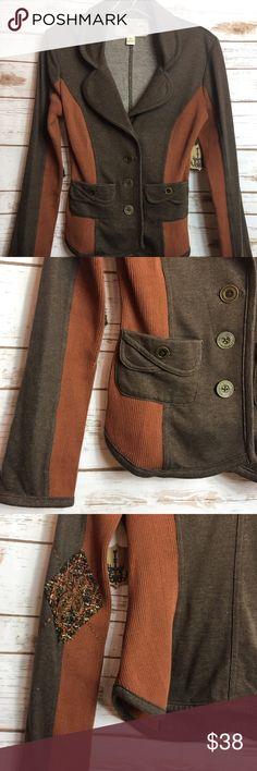 NICK & MO Jersey Knit Jacket/Blazer NICK & MO Women's Blazer. Brown & rust. Elbow patches. Jersey Knit Fabric.  Brand: Nick & Mo Size: Small Nick & Mo Jackets & Coats Blazers