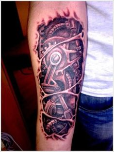 Ripped Skin Tattoo Arm - 20 Biomechanical Tattoos <3 <3