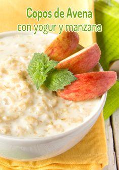 Copos de avena con yogur y manzana