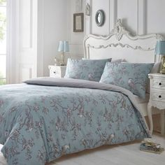 Debenhams Blue and grey printed 'Curious Bird' bedding set- | Debenhams