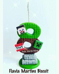 Consulte nos sobre disponibilidade de vagas!! Minecraft Birthday Cake, Minecraft Cake, Minecraft Party, Fondant Numbers, Fondant Letters, Fondant Cake Toppers, Fondant Figures, Bolo Mine Craft, Cake Craft