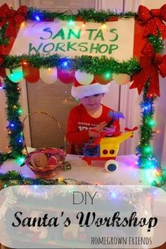 Transform your children's grocery store (or tool bench) into their very own Santa's Workshop! 24 Winter Activities in 25 Days! Preschool Christmas, Christmas Activities, Winter Activities, Christmas Photos, Christmas Themes, Winter Christmas, Kids Christmas, Christmas Decorations, Preschool Winter